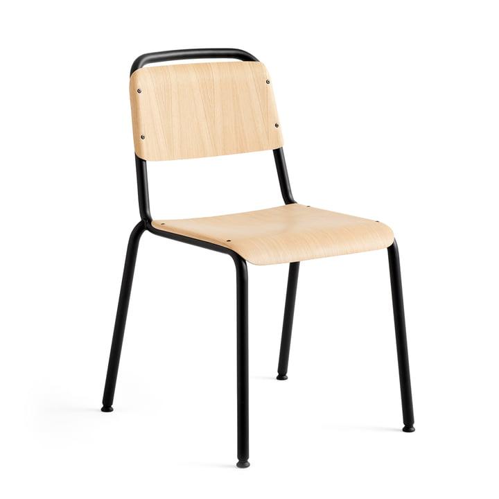 Halftime Stuhl, schwarz pulverbeschichtet / Eiche matt lackiert von Hay