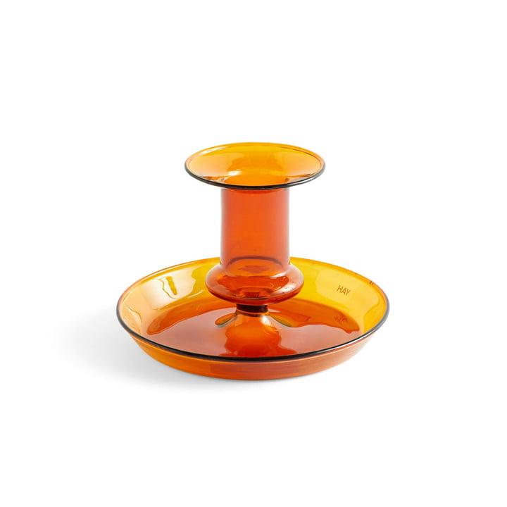 Flare Kerzenhalter, Ø 11 x H 7,5 cm in amber von Hay