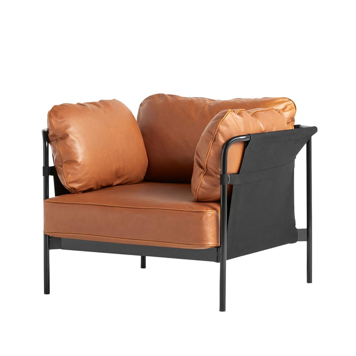 Can Sessel, Gestell schwarz / Außenstoff Canvas schwarz / Softleder (Silk cognac SIL0250) von Hay