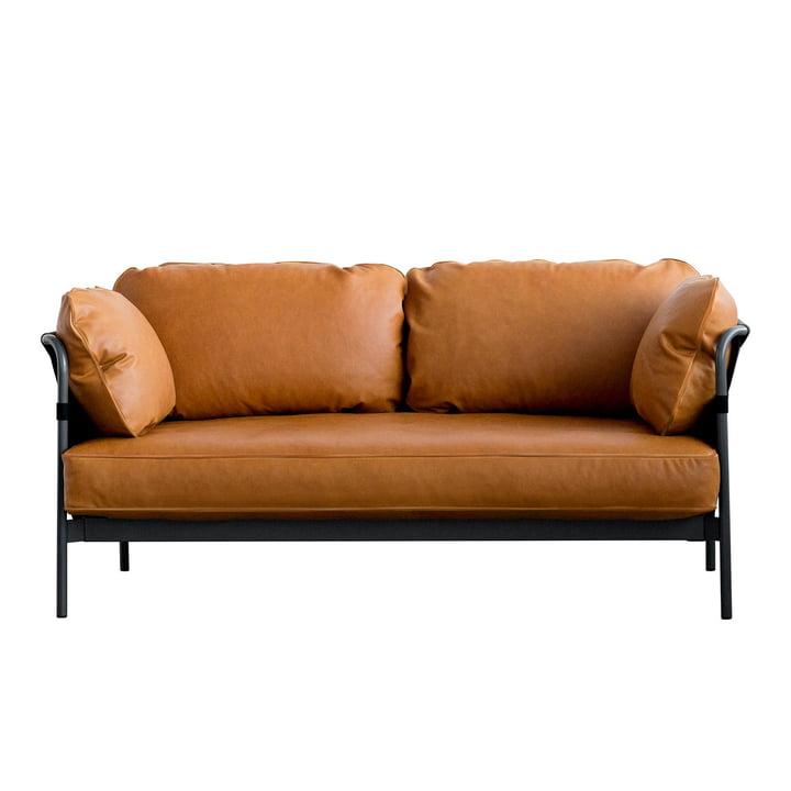 Can Sofa, 2-Sitzer, Gestell schwarz / Außenstoff Canvas schwarz / Softleder (Silk cognac SIL0250) von Hay