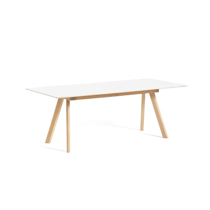Copenhague CPH30 ausziehbarer Esstisch, L 160/310 x B 80 x H 74 cm, Eiche matt lackiert / Laminat weiß von Hay