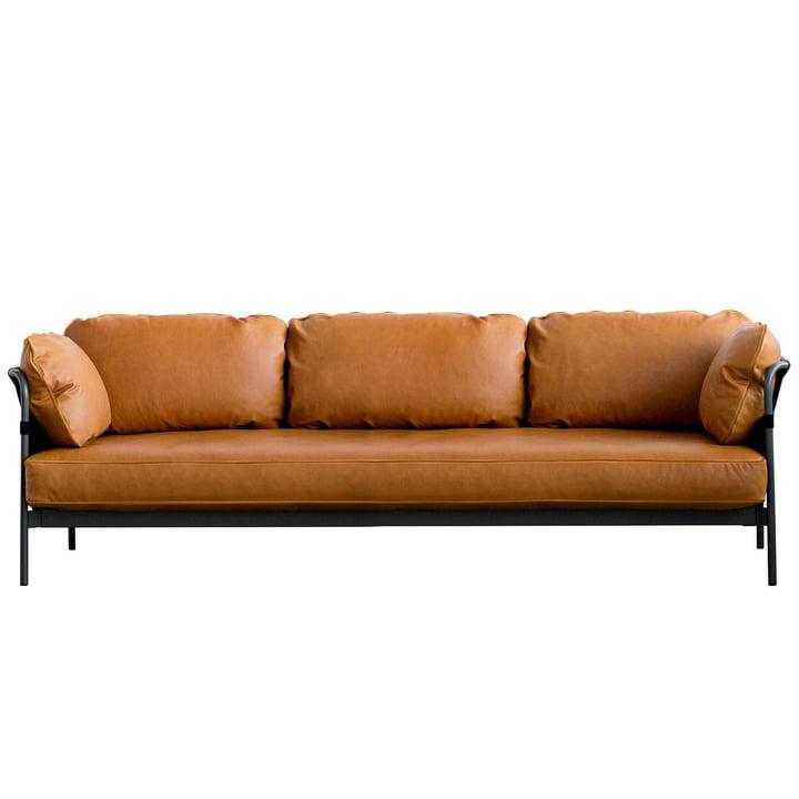 Can Sofa, 3-Sitzer, Gestell schwarz / Außenmaterial schwarz / Leder Silk cognac (SIL0250) von Hay