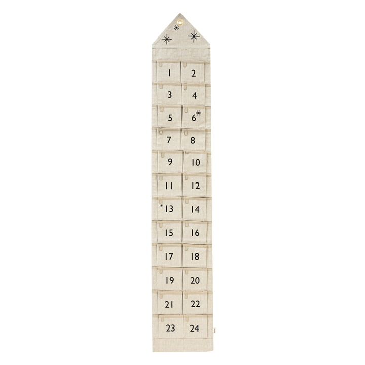 House Adventskalender von ferm Living in schmal / sand