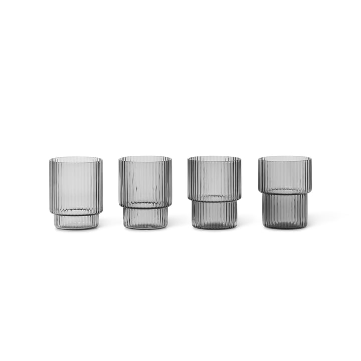 Ripple Trinkglas small, smoked grey (4er-Set) von ferm Living