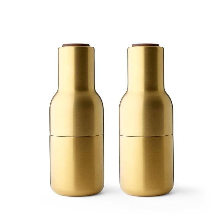 Bottle Salz- und Pfeffermühlen Set von Menu in Messing gebürstet (Holzdeckel Walnuss)