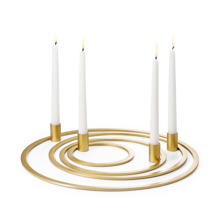 Four Rings Kerzenhalter in Gold von Philippi