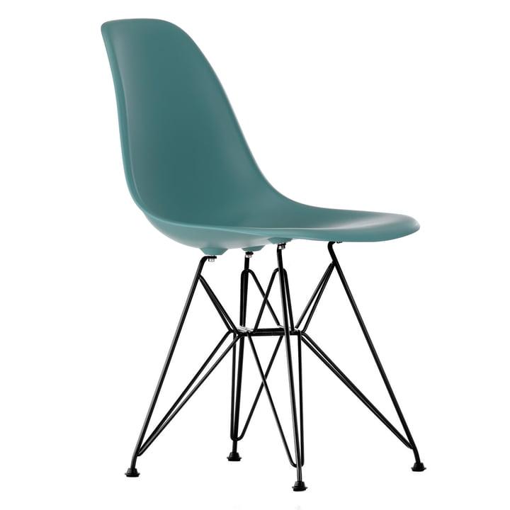 Eames Plastic Side Chair DSR (H 43 cm), pulverbeschichtet / ocean, Kunststoffgleiter schwarz (Hartboden) von Vitra