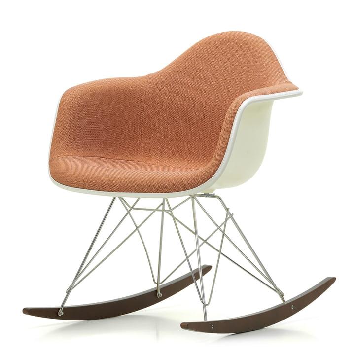 Vitra - Eames Plastic Armchair RAR, Ahorn dunkel / Chrom / Vollpolster Credo zartrosa / cognac / Sitzschale creme / Keder weiß