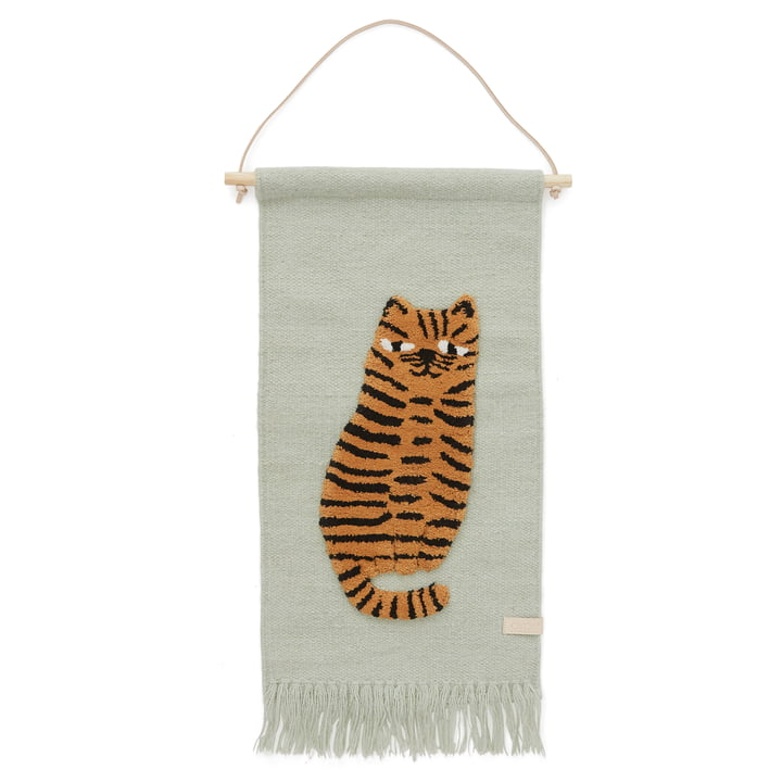 Kinder-Wandteppich mit Tiermotiv, Tiger / grün von OYOY