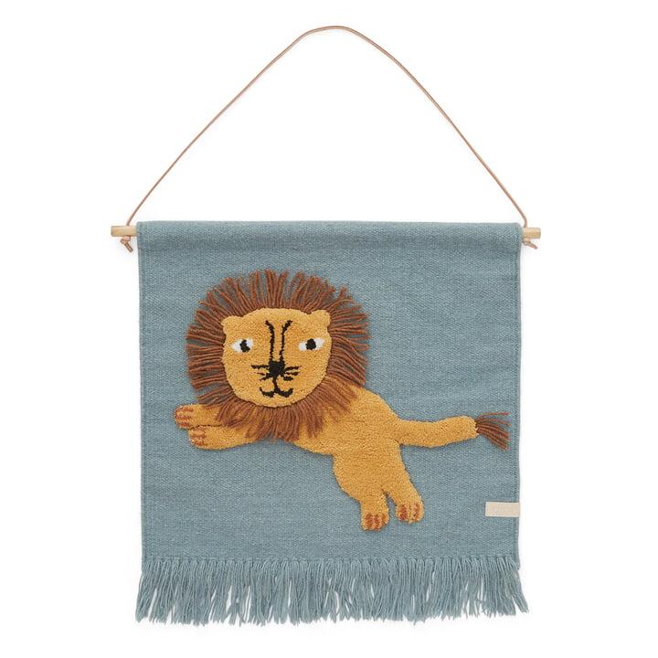 Kinder-Wandteppich mit Tiermotiv, Löwe / tourmaline von OYOY