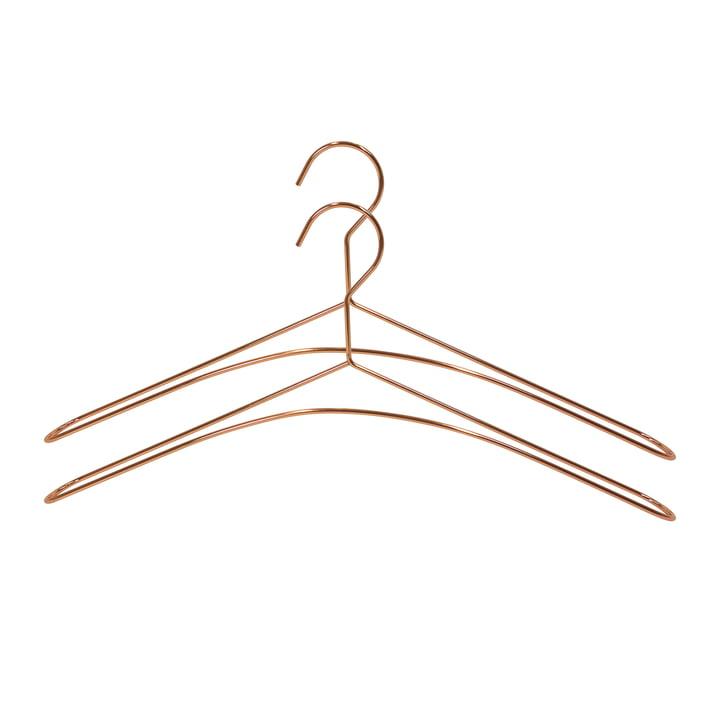 Zwei Kleiderbügel in Kupfer