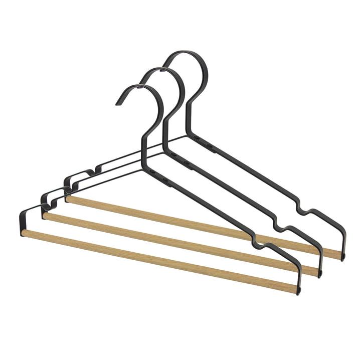 Connox Collection - Metall-Kleiderbügel mit Holzsteg, schwarz (3er-Set)