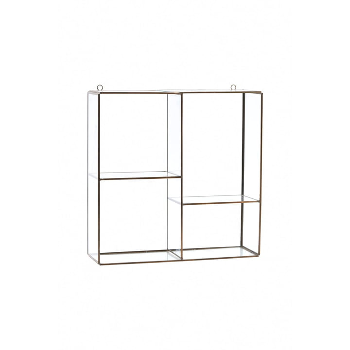 Keeper Wandregal / Vitrine H 33 cm von House Doctor in Messing / Glas