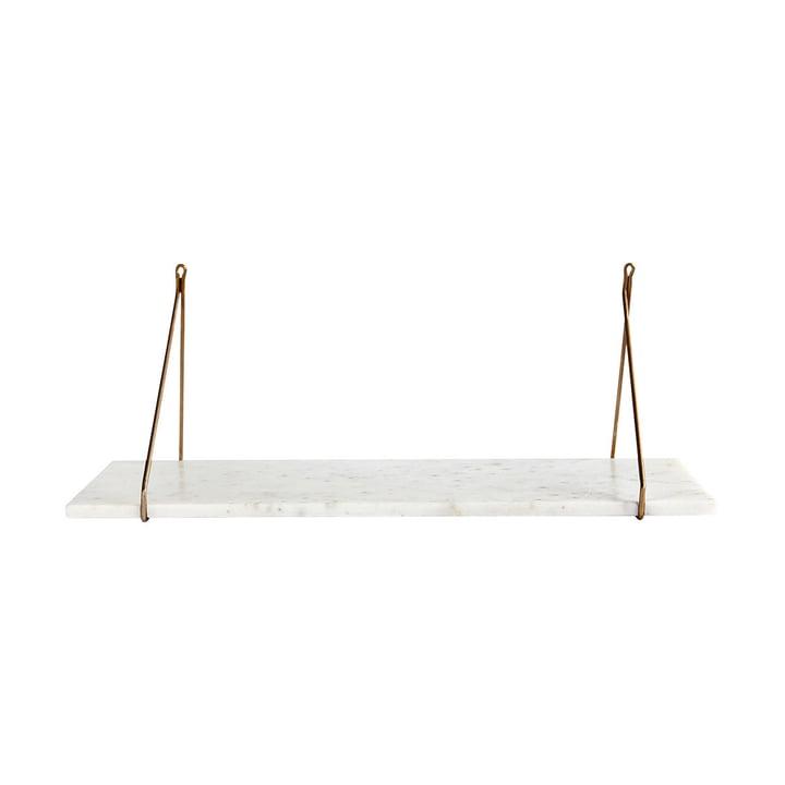 Marmor Wandregal 24 x 70 cm von House Doctor in Messing / Marmor weiß