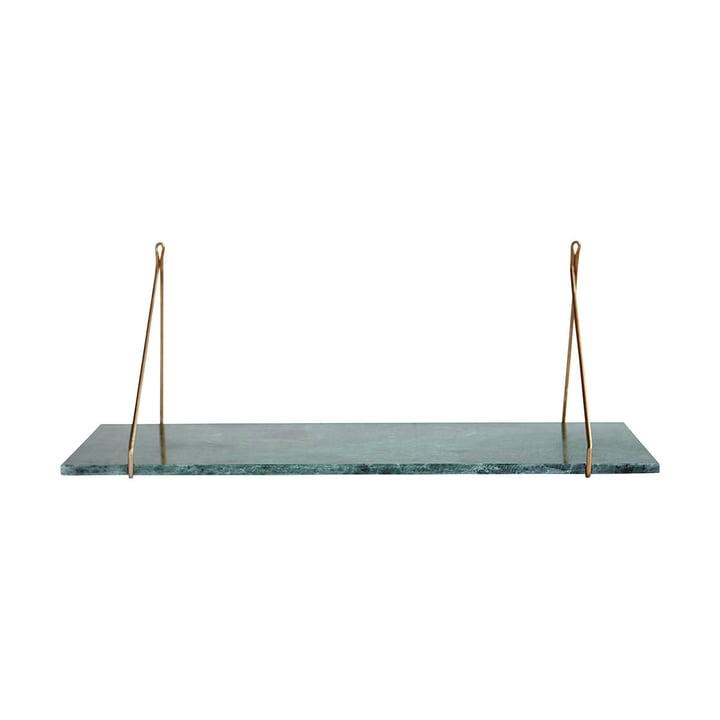 Marmor Wandregal 24 x 70 cm von House Doctor in Messing / Marmor grün