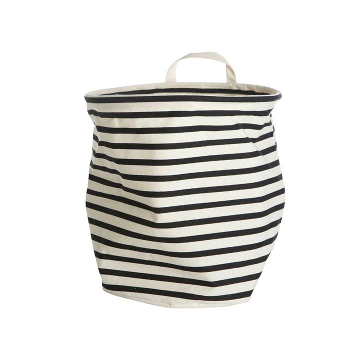 Aufbewahrungskorb Stripes Ø 30 x H 30 cm von House Doctor in schwarz / weiß
