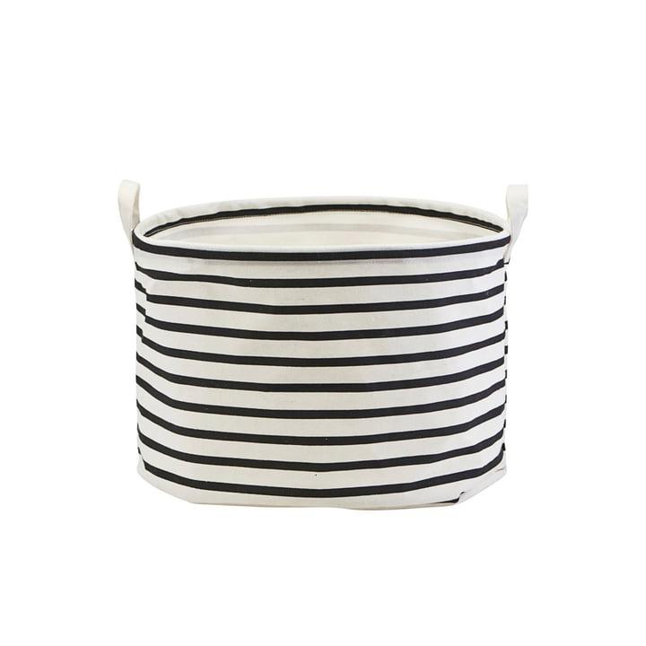 Aufbewahrungskorb Stripes Ø 40 x H 25 cm von House Doctor in schwarz / weiß
