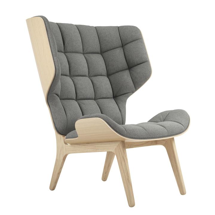 Mammoth Lounge Sessel von Norr11 in Eiche natur / Wolle hellgrau (Light Grey 1000)