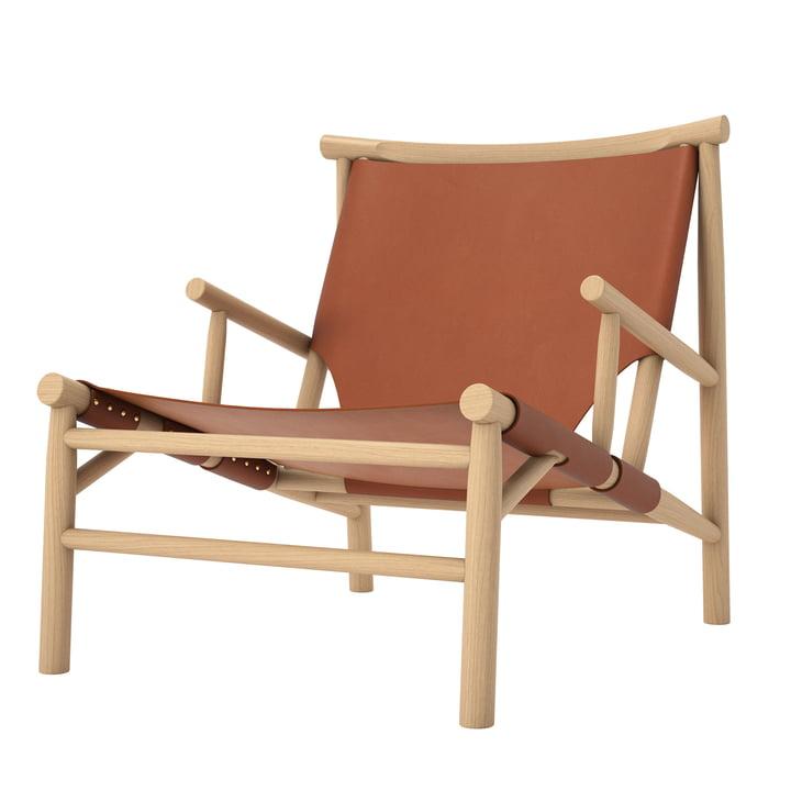 Samurai Lounge Chair von Norr11 in Eiche natur / Leder cognac
