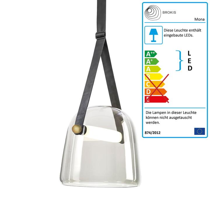 Mona LED Pendelleuchte medium von Brokis in Glas klar / Eiche gewachst / schwarz / Leder schwarz