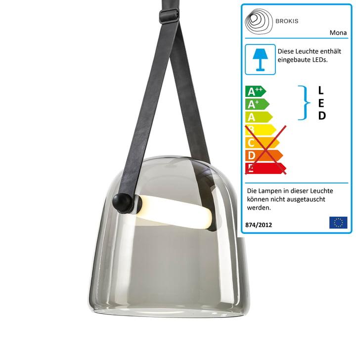 Mona LED Pendelleuchte large von Brokis in Glas smoke grey / Eiche schwarz gebeizt / schwarz / Leder schwarz