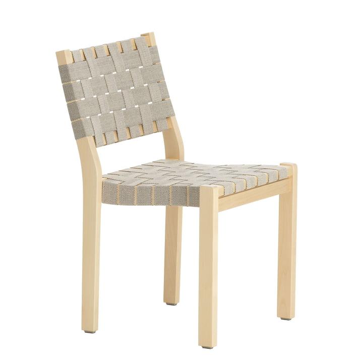 Stuhl 611 von Artek in Birke klar lackiert / Leinengurte natur-schwarz gemustert