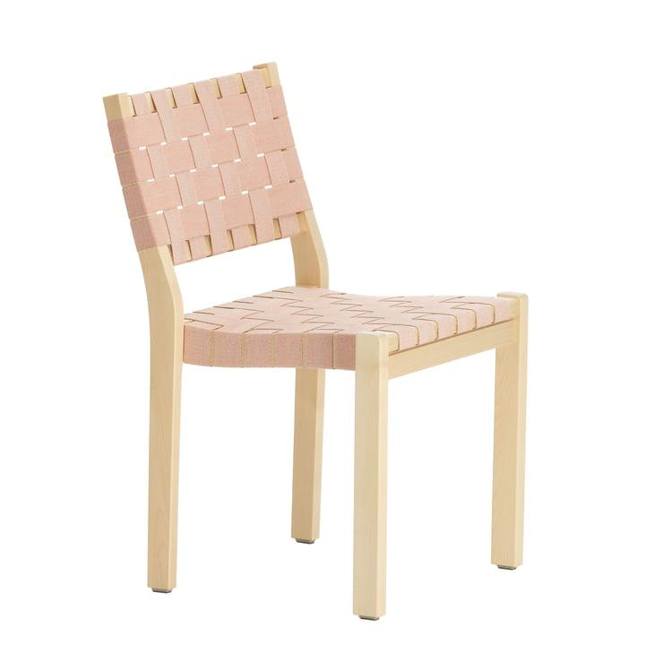 Stuhl 611 von Artek in Birke klar lackiert / Leinengurte natur-rot gemustert