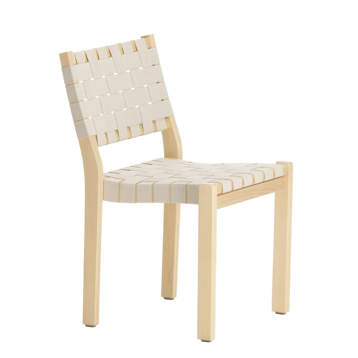 Stuhl 611 von Artek in Birke Birke klar lackiert / Leinengurte natur-weiß gemustert