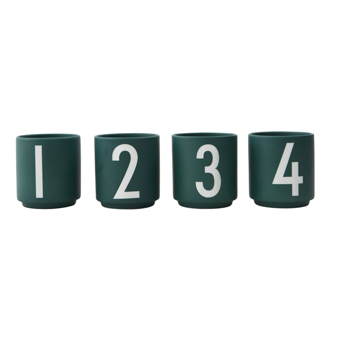 Porzellan Mini-Becher (4er-Set) von Design Letters in dunkelgrün