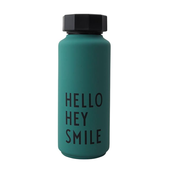 AJ Thermosflasche Hot & Cold 0,5 l Hello Hey Smile von Design Letters in dunkelgrün