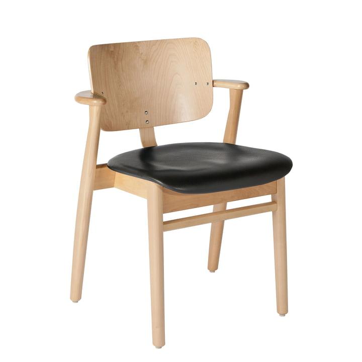 Domus Stuhl von Artek in Birke klar lackiert / Leder schwarz (L1-40672)