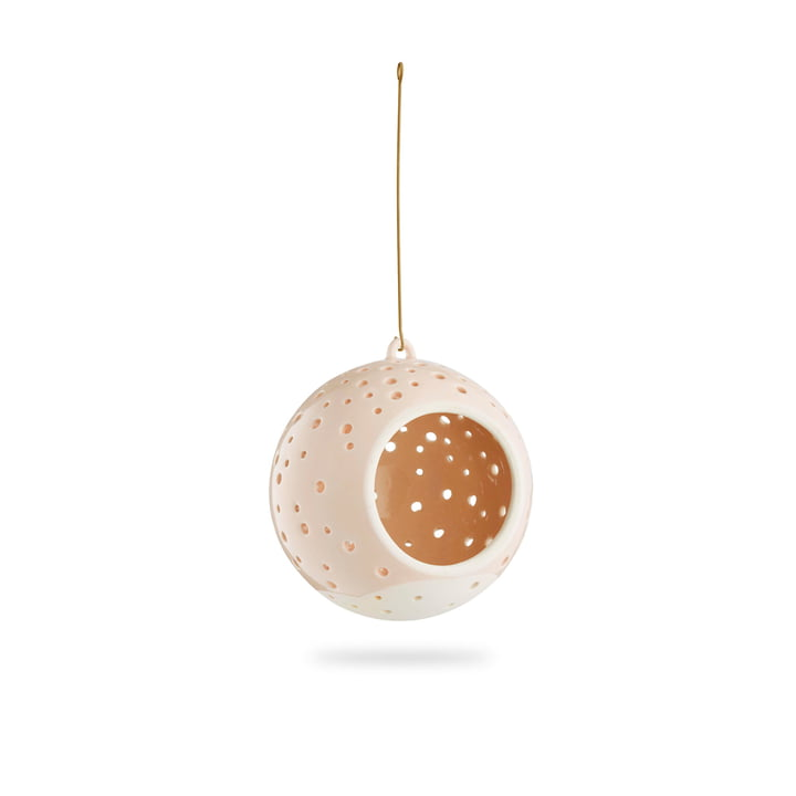 Nobili Teelichtleuchter Kugel Ø 12 cm hängend von Kähler Design in nude