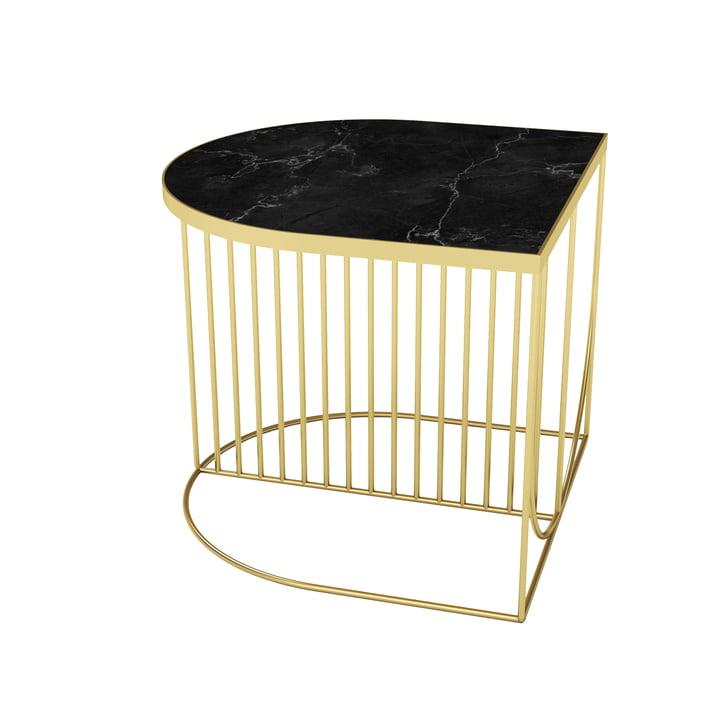 Sino Couchtisch 50 x 50 cm von AYTM in gold / Marmor schwarz