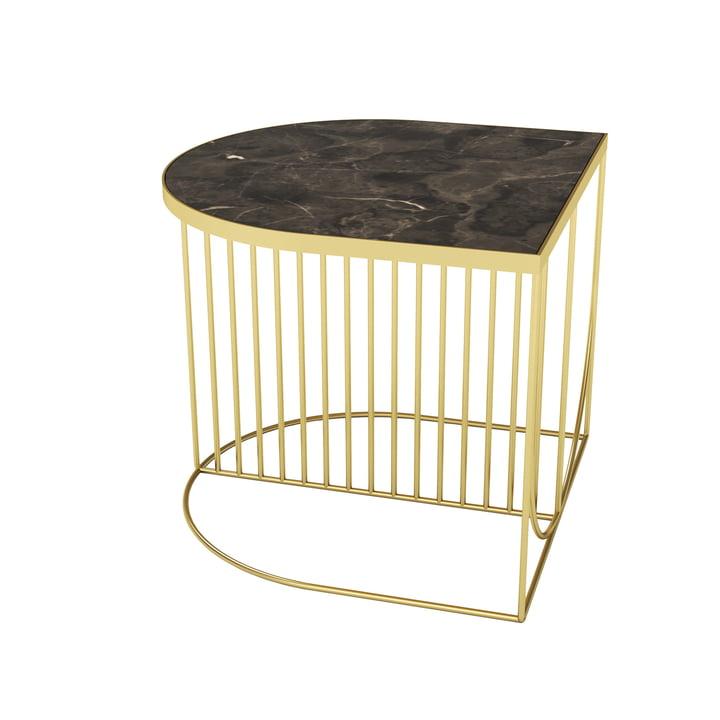 Sino Couchtisch 50 x 50 cm von AYTM in gold / Marmor braun