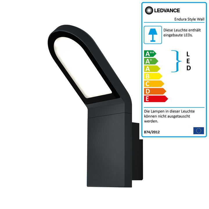 Ledvance - Endura Style Wall LED-Wandleuchte Outdoor, IP 44 / Warmweiß 3000 K, dunkelgrau