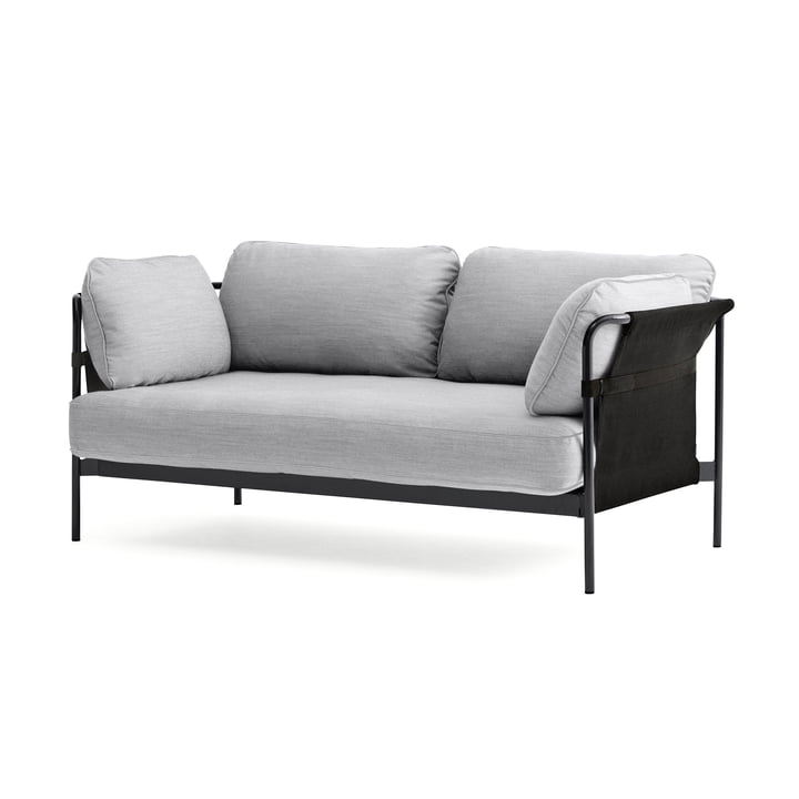 Can 2.0 Sofa 2-Sitzer von Hay in Chrom / Canvas grau / Surface 120 hellgrau