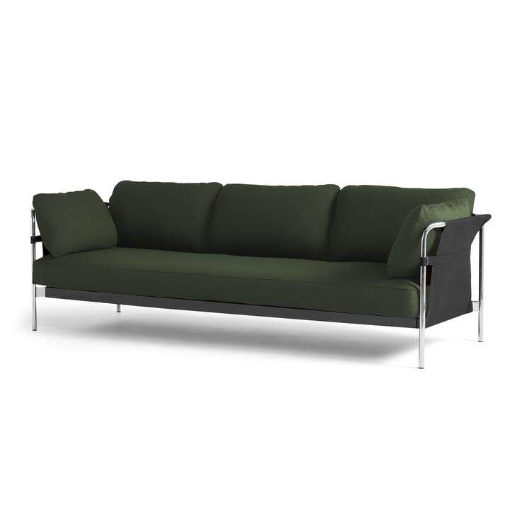 Can 2.0 Sofa 3-Sitzer von Hay in Chrom / Canvas schwarz / Steelcut 975 dunkelgrün