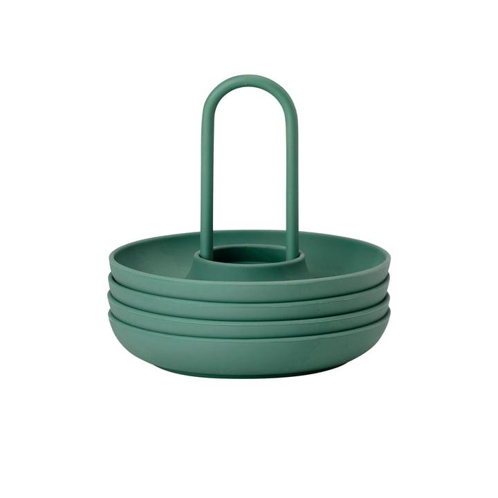 Singles Eierbecher mit Halter von Zone Denmark in emerald (4er-Set)