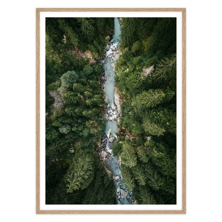 artvoll - Alps Poster mit Rahmen, Eiche natur