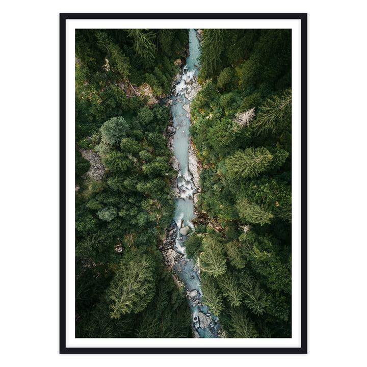 artvoll - Alps Poster mit Rahmen, schwarz