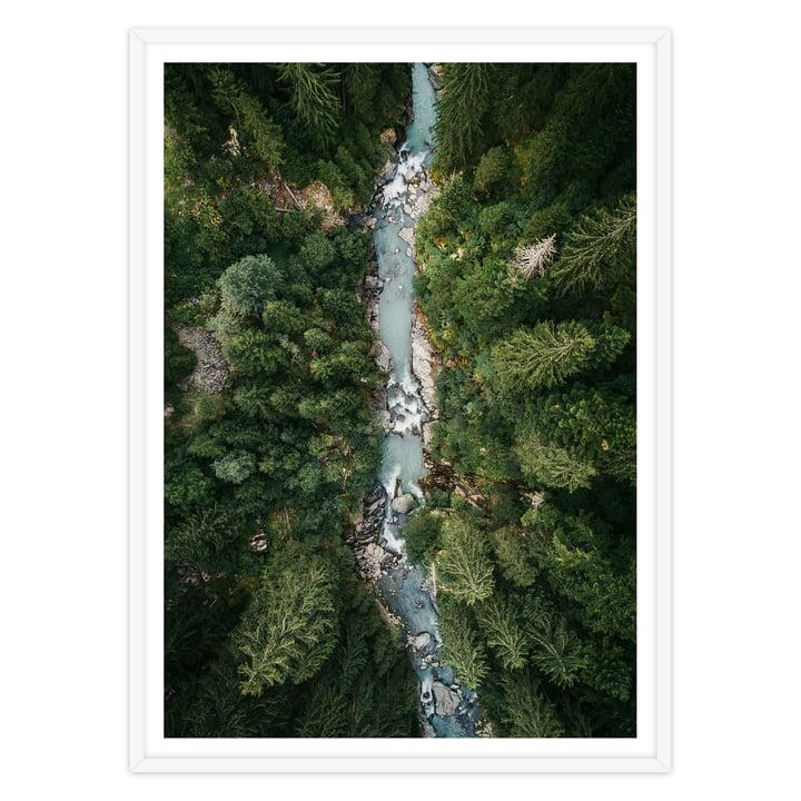 Artvoll - Alps Poster mit Rahmen, weiß