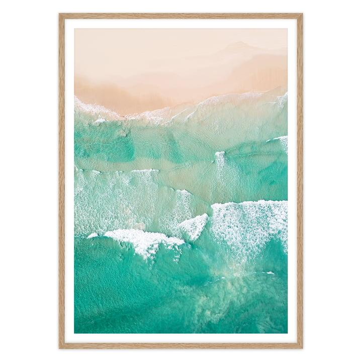 artvoll - Beach No. 2 Poster mit Rahmen, Eiche natur