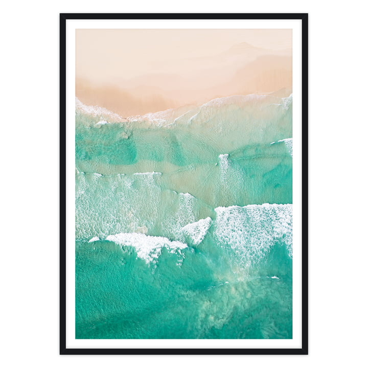 artvoll - Beach No. 2 Poster mit Rahmen, schwarz