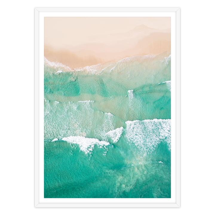 artvoll - Beach No. 2 Poster mit Rahmen, weiß