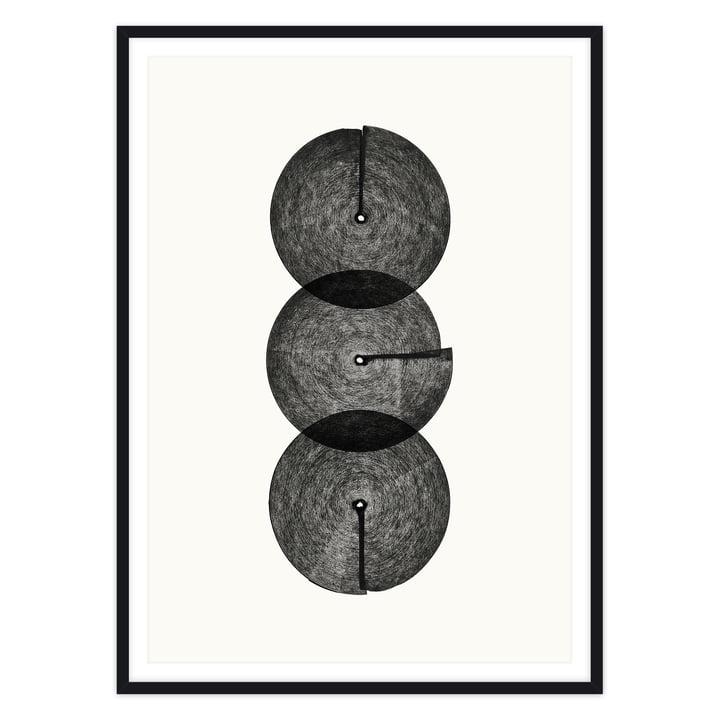 artvoll - Circles No. 3 Poster mit Rahmen, schwarz