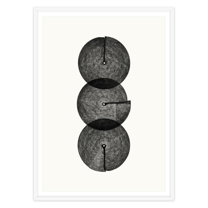 artvoll - Circles No. 3 Poster mit Rahmen, weiß