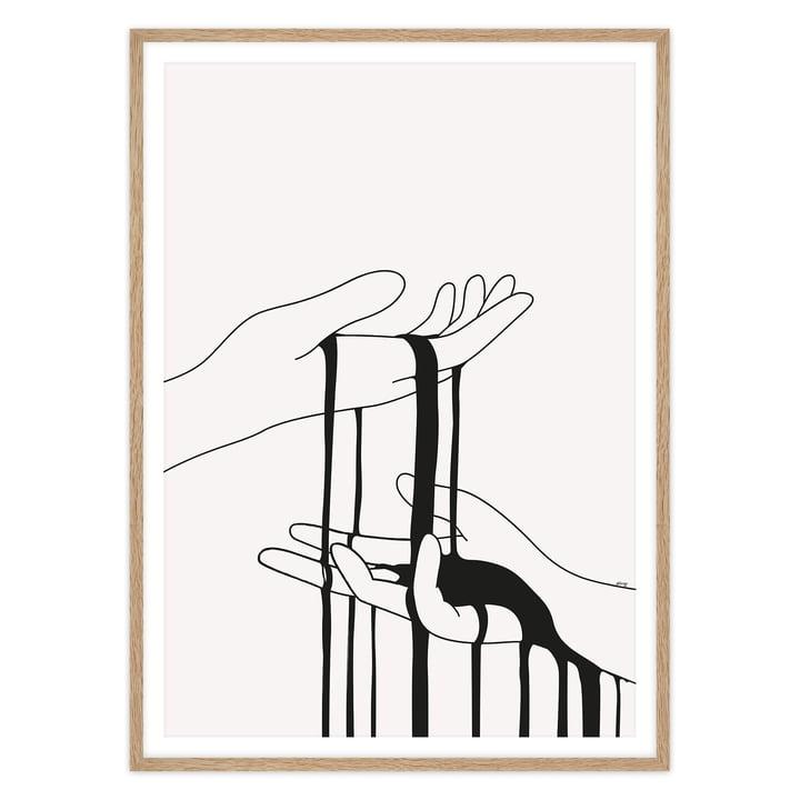 artvoll - Dripping Poster mit Rahmen, Eiche natur