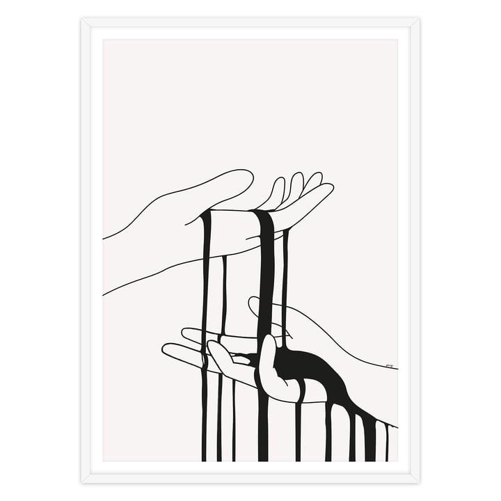artvoll - Dripping Poster mit Rahmen, weiß