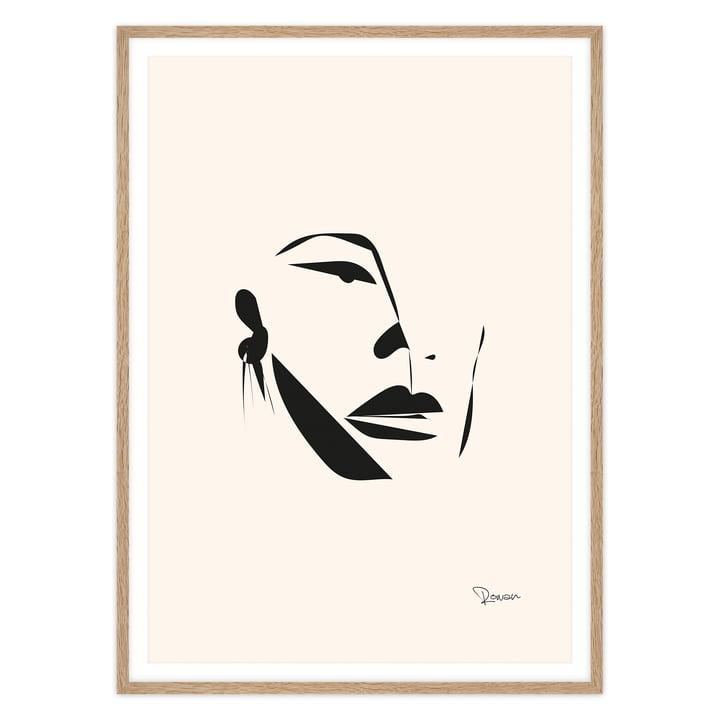 artvoll - Face Poster mit Rahmen, Eiche natur