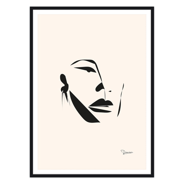 Artvoll - Face Poster mit Rahmen, schwarz
